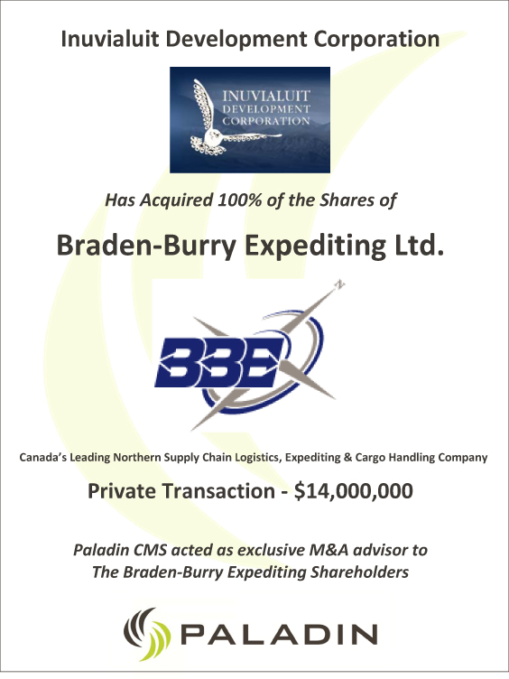 Paladin CMS exclusive M&A advisor to Braden-Burry Expediting shareholders