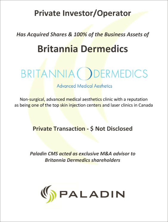 Paladin CMS exclusive M&A advisor to Britannia Dermedics shareholders