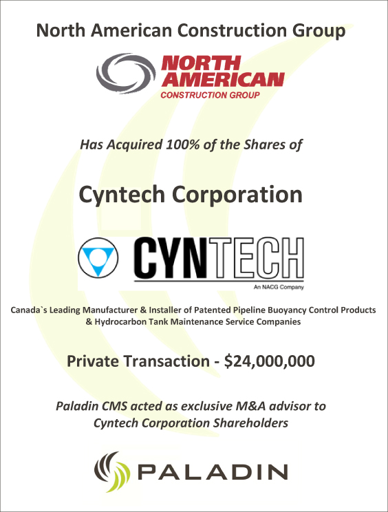 Paladin CMS exclusive M&A advisor to Cyntech Corporation shareholders