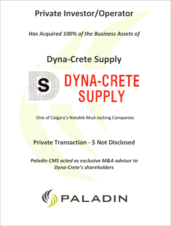 Paladin CMS exclusive M&A advisor to Dyna-Crete shareholders