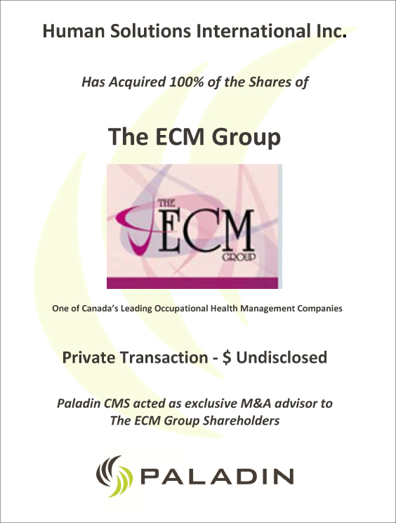 Paladin CMS exclusive M&A advisor to the ECM Group shareholders