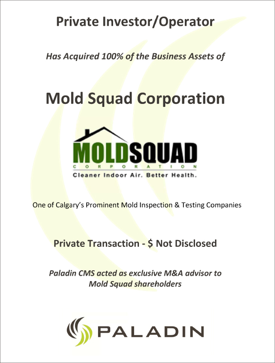 Paladin CMS exclusive M&A advisor to Mold Squad shareholders