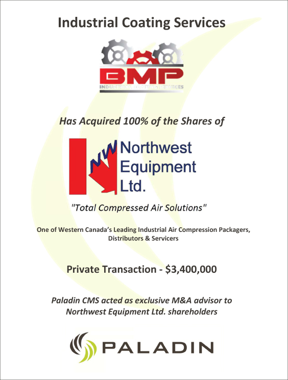 Paladin CMS exclusive M&A advisor to Northwest Equipment Ltd shareholders