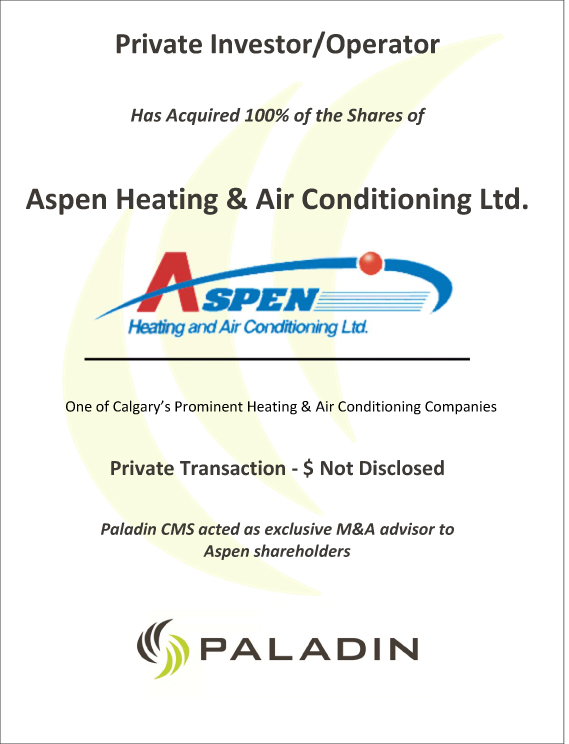 Paladin CMS exclusive M&A advisor to Aspen shareholders