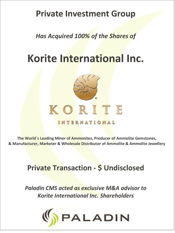 Paladin CMS exclusive M&A advisor to Korite international inc shareholders