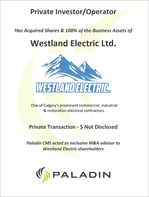 Paladin CMS exclusive M&A advisor to Westland Electric shareholders
